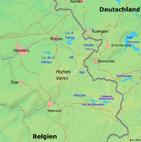 Map showing the location of High Fens