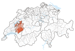 Map of Switzerland, location of کانتون فریبورگ highlighted