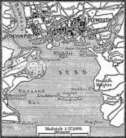 """A map of the """"three towns"""": Devonport, Stonehouse and Plymouth in 1888"""