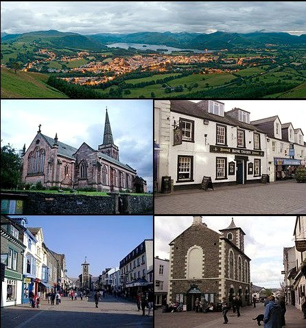 Montage of outdoor shots of Keswick buildings