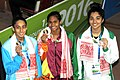 Kimiko Raheem (SRI LANKA) won Gold Medal, Maana Patel (INDIA) won Silver Medal and Bisma Kahan (PAKISTAN) won Bronze Medal, in the Women's swimming 50m Backstroke category, at the 12th South Asian Games-2016, in Guwahati.jpg