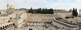 Western Wall - Panorama of the Western Wall with the Dome of the Rock (left) and al-Aqsa mosque (right) in the background