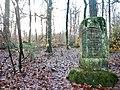 Kleindenkmal, Johann-Schwarz-Stein von 1908 aus Stein, Denkstein für Joh. Gg. Schwarz v. Mönchberg, der hier am 18. Dez. 1906 23 Jahre alt beim Holzfällen von einer Buche erschlagen wurde , Matth. 25,21 , 1909 , , - panoramio.jpg