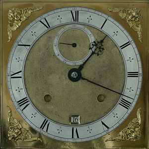 Joseph Knibb - Nine inch square dial of month-going walnut longcase clock, signed Joseph Knibb Londini fecit circa 1675