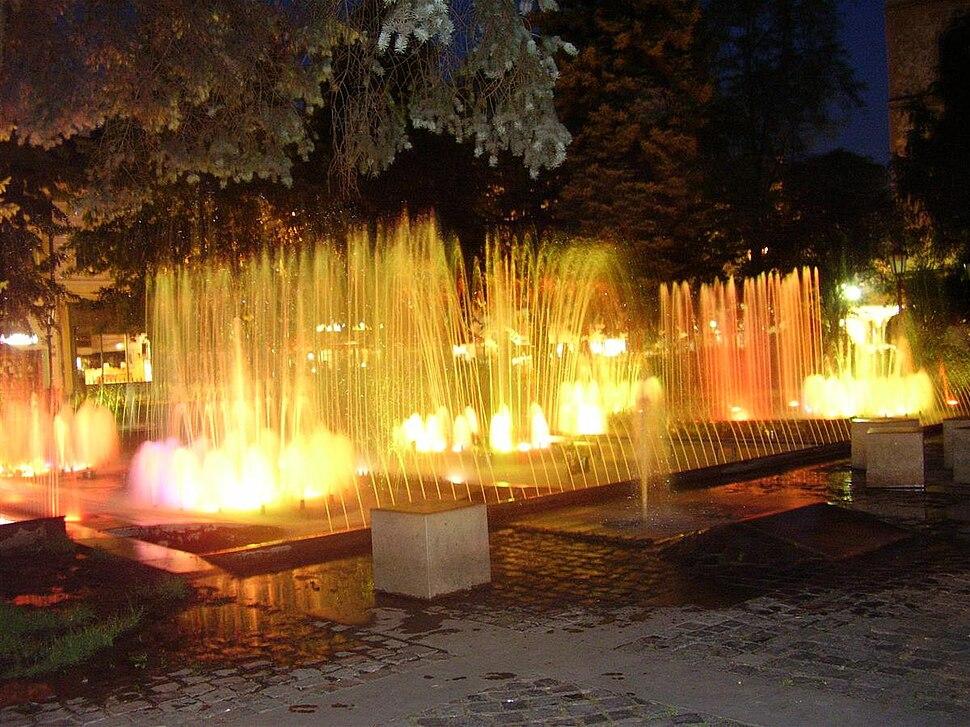 Košická fontána v noci