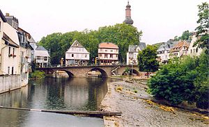 Siege of Bad Kreuznach - View of the old bridge in Kreuznach.
