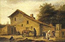Peinture à l'huile représentant un bâtiment, un cheval et des personnages.