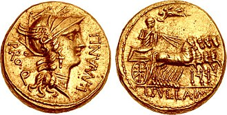 Manlia (gens) - Aureus of Lucius Manlius Torquatus with Sulla, 82 BC.  The obverse depicts a head of Roma, while on the reverse a victorious general triumphs in a quadriga, crowned by Victoria, alluding to Sulla's campaign against the younger Marius and Gnaeus Papirius Carbo.