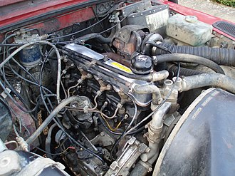 Turbo-diesel - A Land Rover 2.5-litre 4-cylinder turbodiesel engine is typical of 'first generation' automotive turbodiesels, with mechanical indirect injection, 8 pushrod operated valves and no intercooler. The turbocharger itself is visible in the upper centre of this picture.