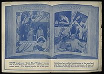 "A montage of images from the film, with the title ""LIFE'S SHOP WINDOW from the famous novel and play by Victoria Cross"". Scenes are captioned ""TO-NIGHT OF ALL NIGHTS— STAY HOME WITH ME"", ""ABOUT TO LEAVE HUSBAND AND CHILD"", ""STARLIGHT HAS A PLAN"", ""STARLIGHT WICKED SQUAW"", and ""WHERE IS MY WIFE"". Below the image, ""100,000 people saw 'Life's Shop Window' in one day at ten New York theatres. Thousands were turned away. The biggest popular hit of the year. A delicate but truthful visualization of the novel and play that was the talk of two continents. A story of a clandestine marriage that almost resulted in disaster."""