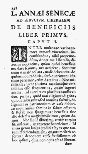 De Beneficiis - From the 1643 edition, published by Francesco Baba
