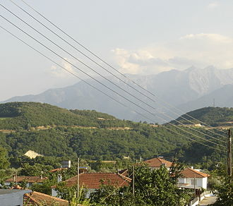 Lagorrachi - A view of Lagorrachi with Mt. Olympus in the background