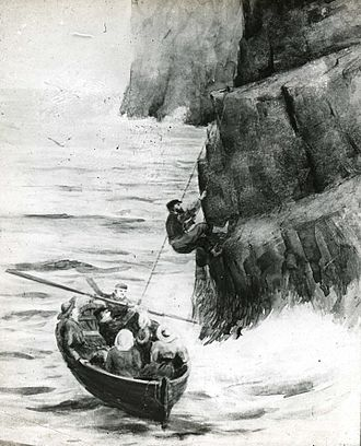 "Norman Heathcote - Landing on Stac Lee (from ""Climbing in St Kilda"")"