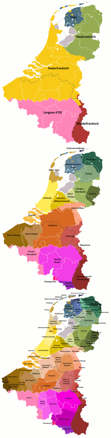 Map showing the dialects spoken in the Benelux: many people in Flanders speak a dialect and the common Flemish, and understand spoken Dutch; in writing, the dialects are hardly used, while Flemish and Dutch are nearly identical in this regard Languages Benelux.PNG