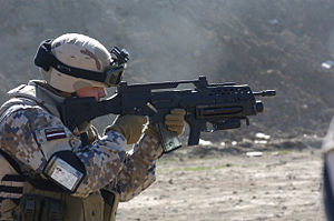 Latvian National Armed Forces - A Latvian army soldier during a live-fire exercise Feb. 2007, Iraq.