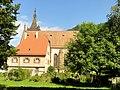 Lautenbach, Wallfahrtskirche Mariä Königin, Chorraum, Ansicht von Süden mit Pfarramt 2.jpg