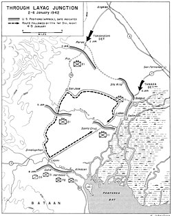 A map of the area around Dinalupihan in January 1942
