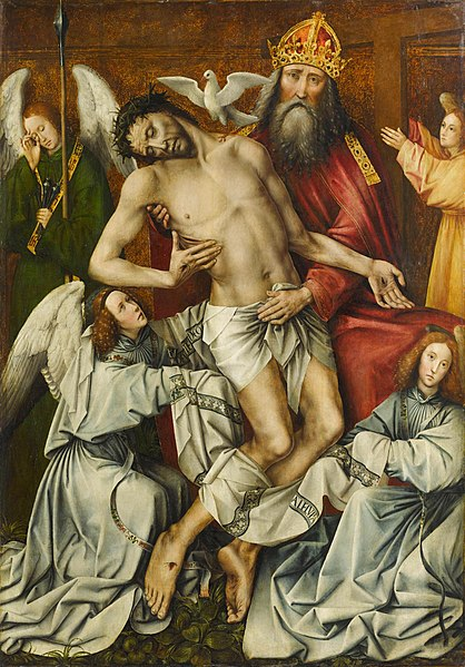 God the Father personified as a late medieval king, the Holy Spirit as a dove, and Christ Crucified, surround by angels, circa 1510.