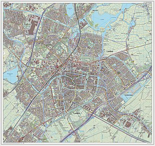 Topographic map image of Leiden (city), Sept. 2014 Leiden-plaats-OpenTopo.jpg