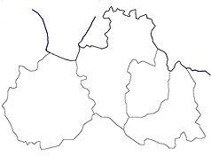 """Mapa konturowa kraju libereckiego, po prawej znajduje się punkt z opisem """"Kořenov"""""""