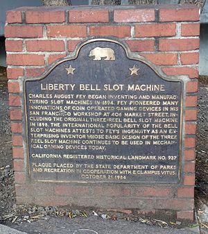 Charles Fey - Liberty Bell Slot Machine memorial, San Francisco
