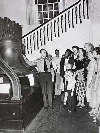 Liberty Bell Pavilion - Liberty Bell in 1951, on display in Independence Hall.