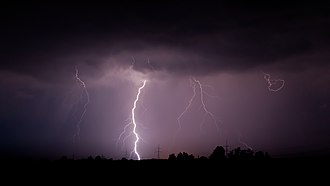 Nitrogen fixation - Lightning heats the air around it breaking the bonds of N2 starting the formation of nitrous acid.