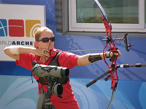 Paralympic sports - Archery: Lindsey Carmichael from the United States, at the 2008 Paralympic Games in Beijing.