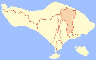 Bangli Regency - Image: Location Bangli Regency