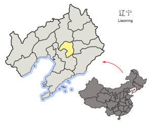 Liaoyang - Image: Location of Liaoyang Prefecture within Liaoning (China)