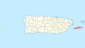 Location of Vieques in Puerto Rico