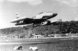7th Fighter Squadron - Lockheed F-80C Shooting Star 49-526 7th Fighter-Bomber Squadron, taking off from Itazuke AB, Japan, 14 August 1950