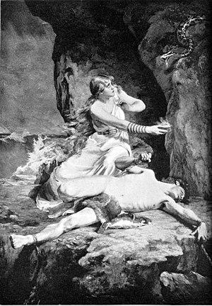 """Sigyn - """"Loki and Sigyn"""" (1892) by Karl Franz Eduard von Gebhardt."""