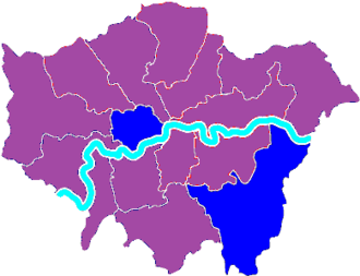 London mayoral election, 2000 - Image: London mayoral 2000 by gla constituency