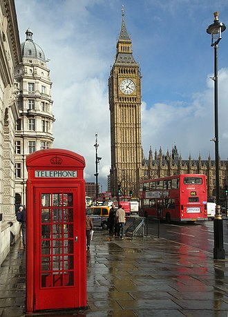 Culture of London - Three cultural icons of London: a K2 red telephone box, Big Ben and a red double-decker bus