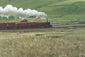 Aisgill - Image: London Midland and Scottish Railway (LMS) Princess Royal Class 7P No. 6203 (British Railways 8P No. 46203) Princess Margaret Rose, steam locomotive, Aisgill summit, Settle to Carlisle line, 1993