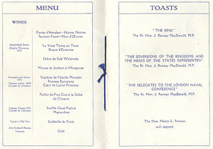 London Naval Treaty - Menu and List of Official Toasts at formal dinner which opened the London Naval Conference of 1930.