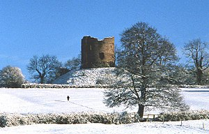 Longtown Castle - Motte and keep in the snow, 1978