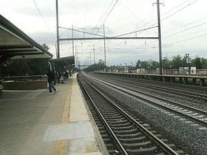 Edison station - Looking toward Trenton from the Newark-bound platform at Edison station.