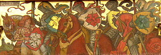 Rosenberg family - Vítkovci, Lords of  Rose, wallpainting by Mikoláš Aleš. Rožmberk (with a red rose) is in the middle.
