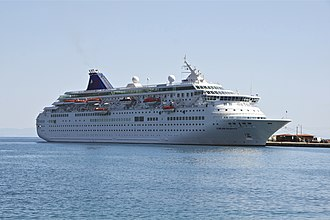 MS Crown Iris - Louis Majesty, in the harbour of Rhodes, Greece.