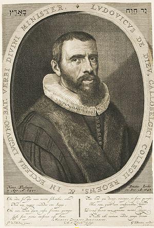 Louis de Dieu - Ludovicus de Dieu, by Anthony van Zijlvelt after a portrait by Pieter Dubordieu