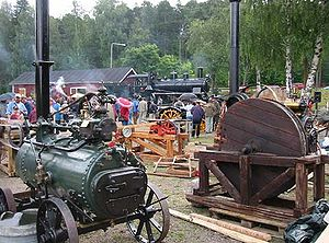 Live steam - A Live Steam Festival displaying equipment ranging from small stationary engines to full-size locomotives. Porvoo, Finland, 2003