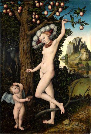 Edda Göring - Cupid complaining to Venus, one of Edda's paintings by Lucas Cranach the Elder.