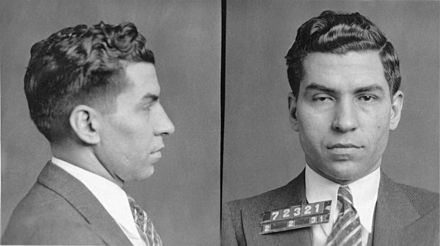 Luciano seized control of the commission after murdering Maranzano Lucky Luciano mugshot 1931.jpg