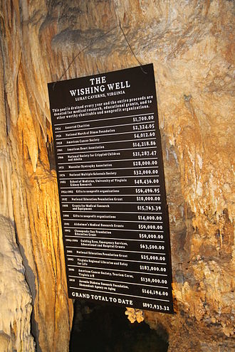 Luray Caverns - Sign at Wishing Well rock formation describing donations made to Page County charities