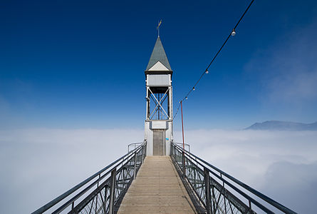Hammetschwand lift and Rigi mountain in the background above the clouds, Bürgenstock, LU, Switzerland.