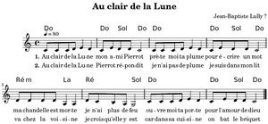 Au clair de la lune - Image: Ly au clair de la lune accords melodie paroles