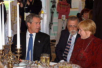 Lyudmila Putina - US President George W. Bush and Lyudmila Putin at the official dinner in honour of the heads of state and their spouses, who arrived in St Petersburg to mark the city's 300th anniversary in 2003.