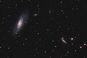 Messier 106 - Messier 106 (left) with possible companion galaxy NGC 4217 (lower right)